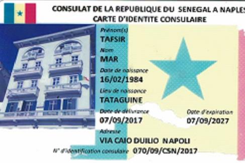 FORMULAIRE D'INSCRIPTION DES SÉNÉGALAIS